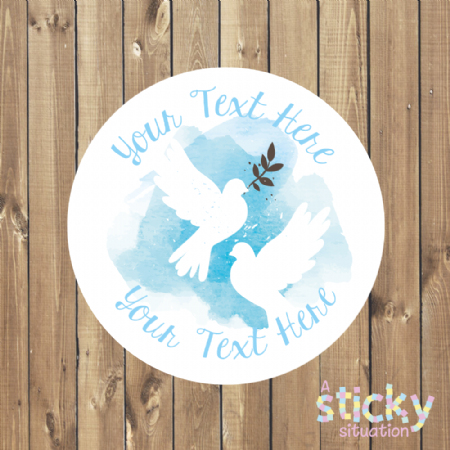 Personalised Customisable Stickers - Traditional Doves Design